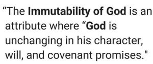 IMMUTABLITY OF GOD
